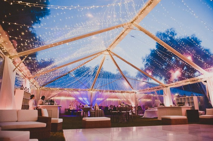 Dancing tent...twinkle lights were perfect with the white dance floor.  Lounge furniture made the view of the river even more enjoyable.