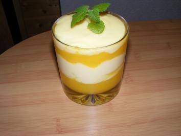Das perfekte Vanilledessert mit Mango-Rezept mit Bild und einfacher Schritt-für-Schritt-Anleitung: Mango schälen und das Fruchtfleisch vom Stein…