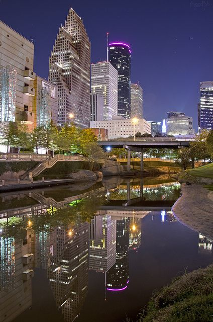 Houston, TX...Beautiful photo of the downtown skyline reflected in the bayou.  Home sweet home!! LIVED THERE 10 YEARS