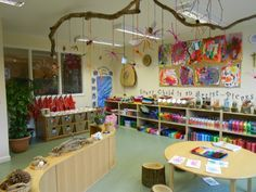 Parents could make wired pieces on back to school night and hang from branches Love the set up.
