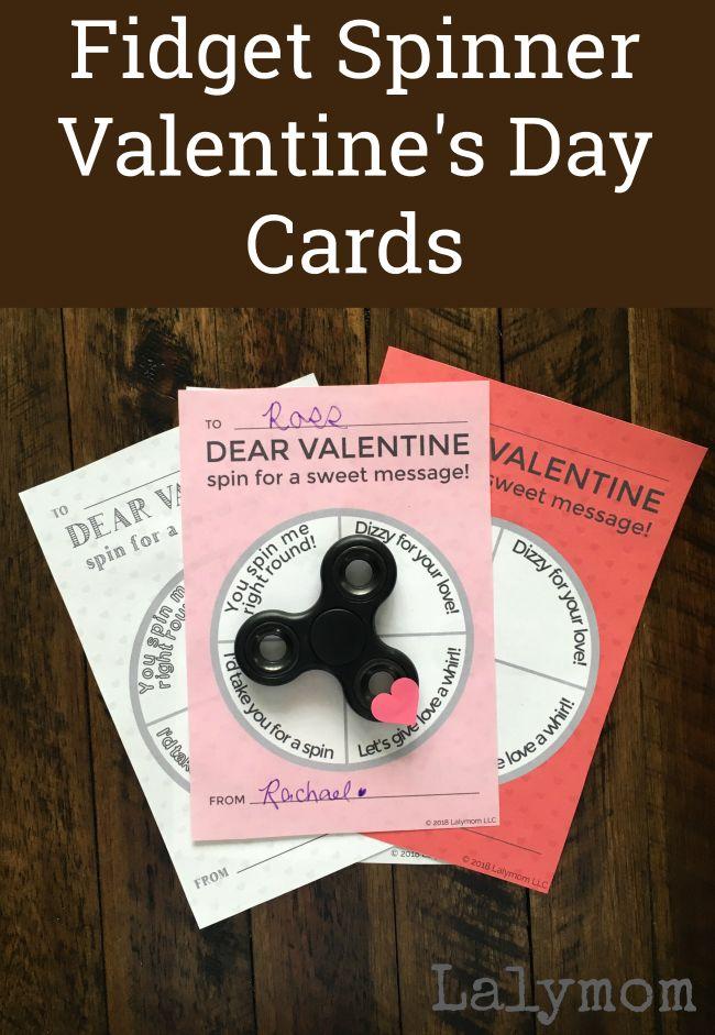 Fidget Spinner Printable Valentine's Day Cards - Instant Digital Download on Lalymom.com