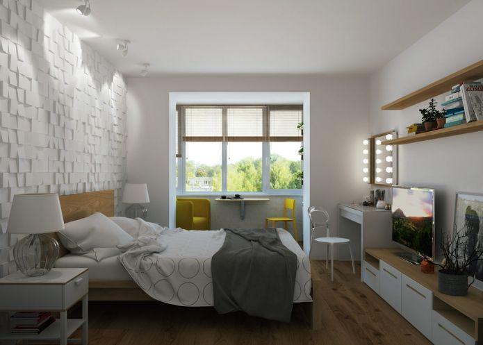 Спальня в проекте квартиры 65 кв. м.
