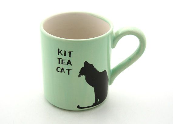 Tea mug with Kit Tea Cat in Mint with Black Cat by LennyMud