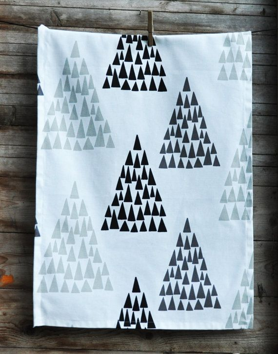 Kitchen towel white with printed trees in black grey by leonorafi