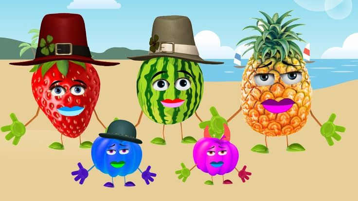 Learn Fruits Finger Family Learn Color Watermelon,Pineapple,Strawberry, ...