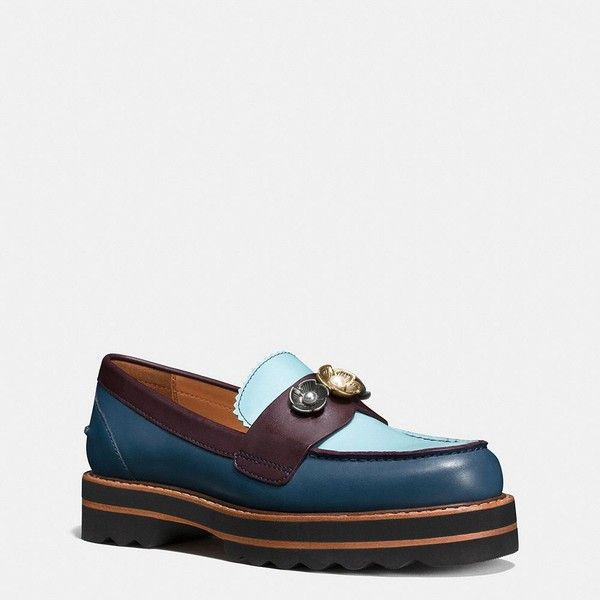 Coach Lenox Loafer (¥32,950) ❤ liked on Polyvore featuring shoes, loafers, dark denim, leather loafers, leather flats, flat pumps, platform flats and coach flats