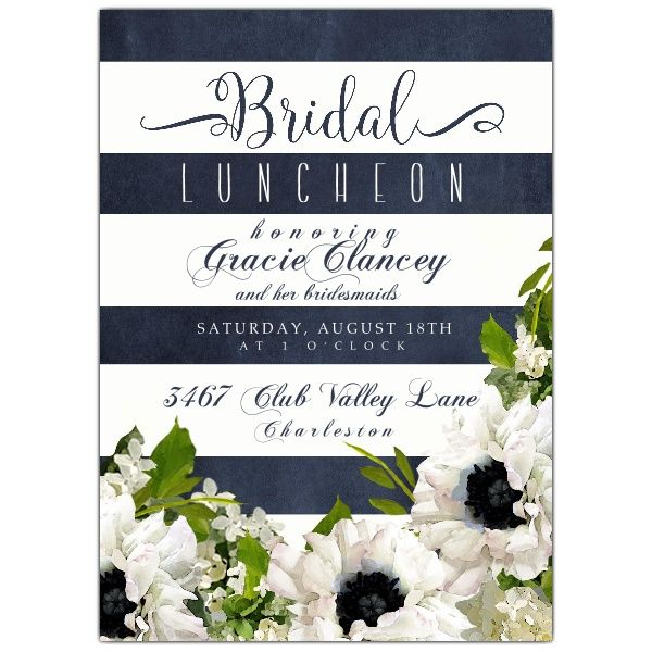 Floral+Garden+Blue+Stripe+Bridal+Luncheon+Invitations