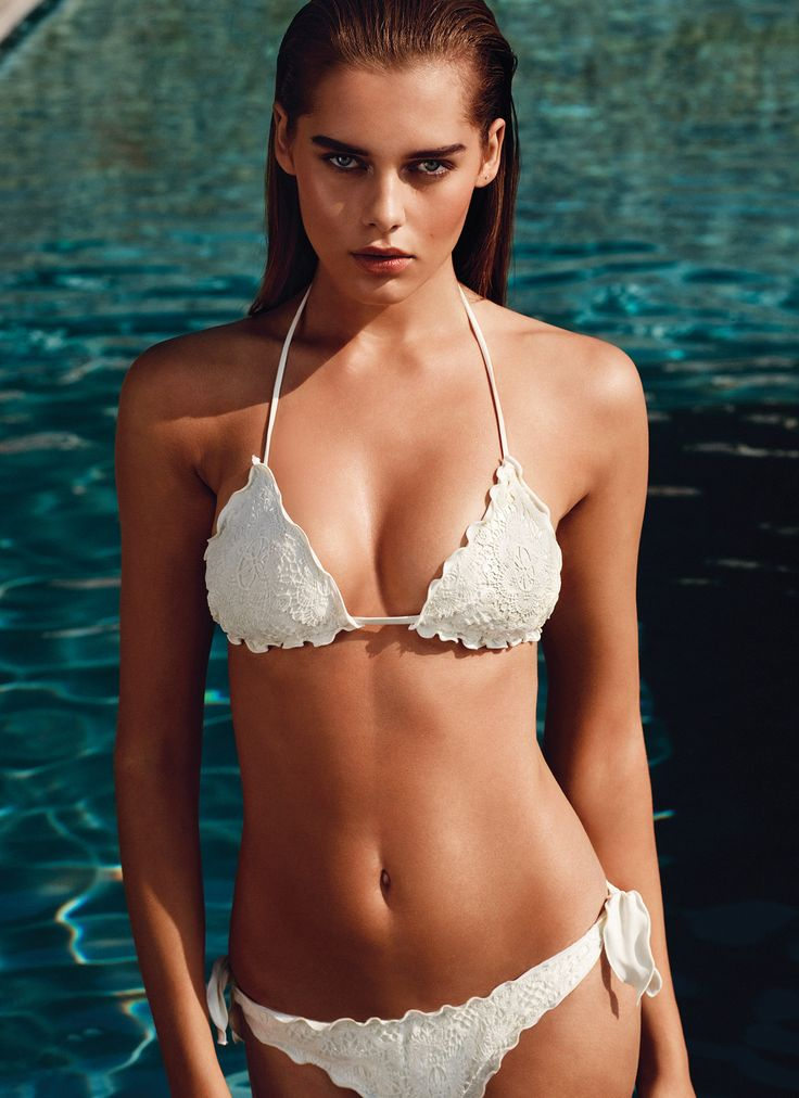 TWIN-SET Simona Barbieri: triangles bra in macramé fabric and tanga with side bows