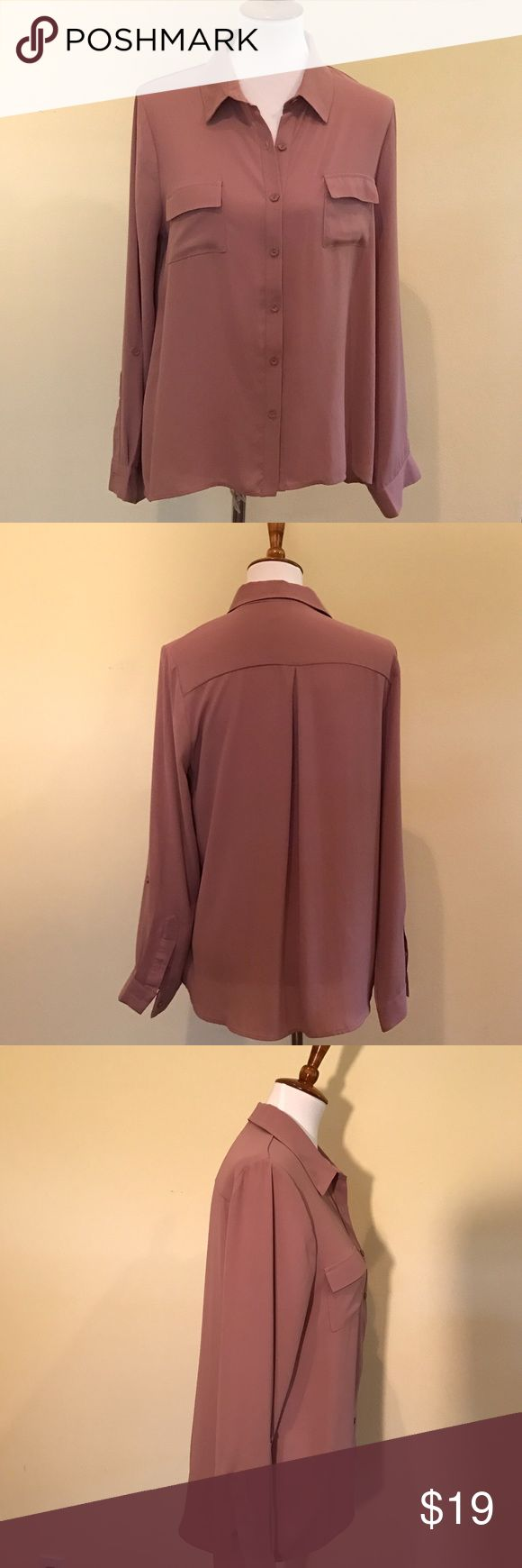 """Dusty Rose Button Down Blouse w/roll up Sleeves """"Silk like"""" Dusty Rose Blouse. Two pockets, Roll up Sleeve Option. Like New. Runs True to size. Tops Blouses"""