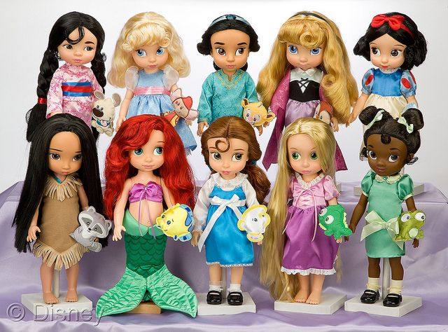 Disney Animators' Doll Collection:  Mulan, Cinderella, Jasmine, Aurora, Snow White, Pocahontas, Ariel, Belle, Rapunzel, and Tiana