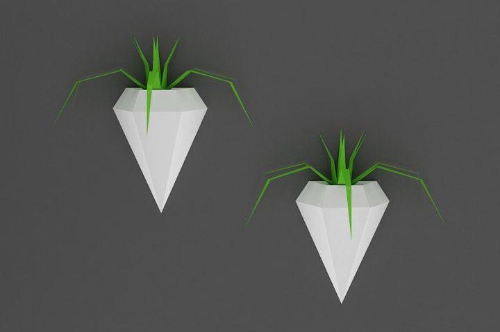 Diy Diamond Planter Printable By Paper Amaze Diy Wall Planter Diy Wall Paper Crafts