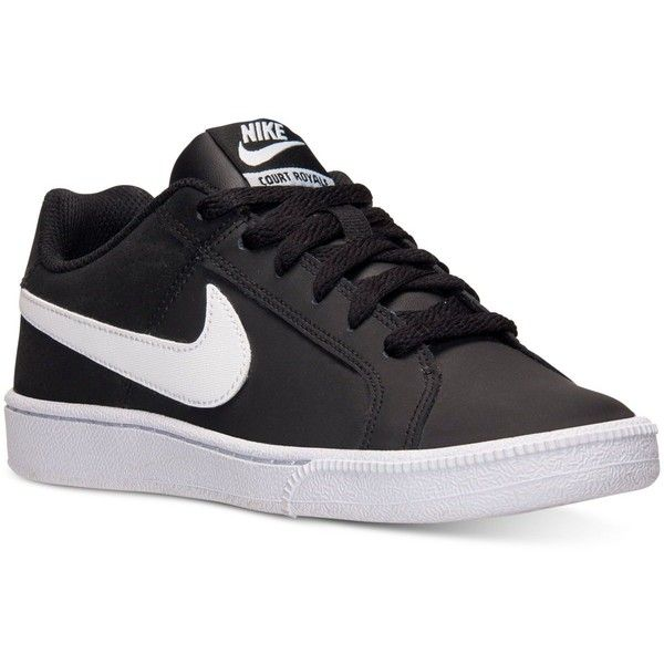 Nike Women's Court Royale Casual Sneakers from Finish Line ($55) ❤ liked on Polyvore featuring shoes, sneakers, low sneakers, nike, nike shoes, tennis shoes and low shoes