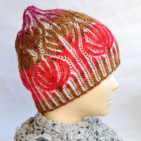 Brioche stitch. Womens Knit Cap. Winter hat hand made. 2 color brioche knitting. Cap two-way. Hat knitted wool. Yarn Alize Lanagold (wool 49% and acrylic 51%). No seams. One size fits most. Colors: white, multicolor. When using this hat: Hand wash (40°C)