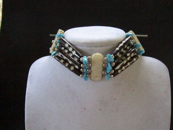 Turquoise & Brown  Choker Buffalo Bone Geronimo Regalia Pow Wow Indian