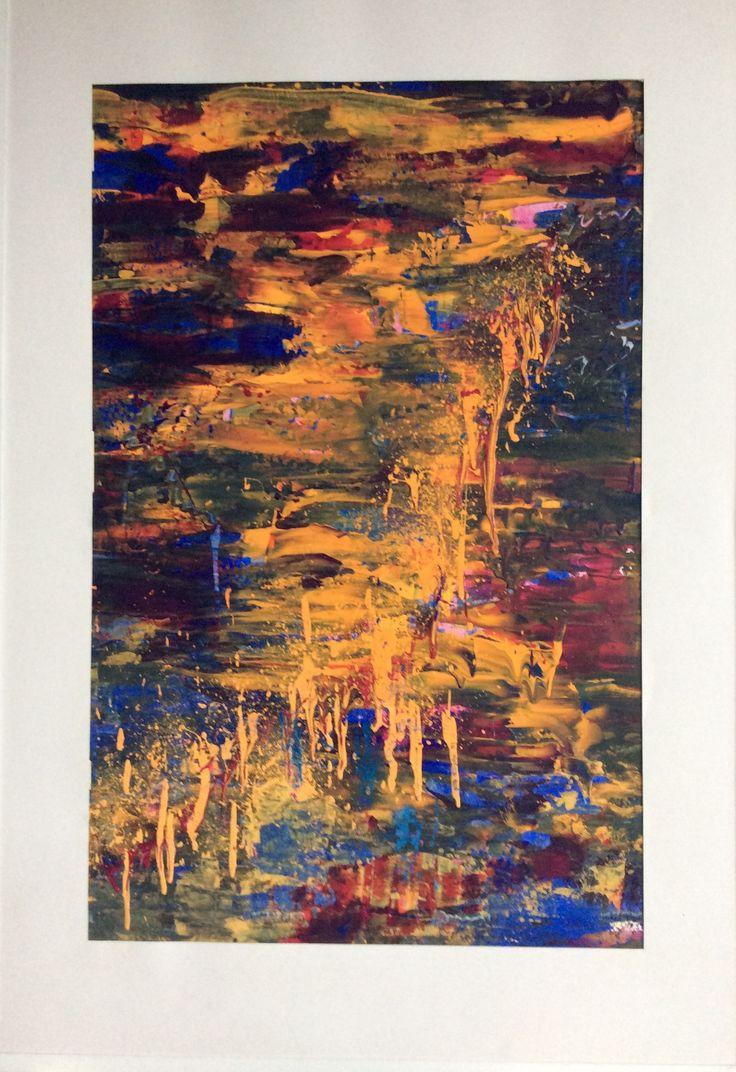 """Nordlys"" II fra 1991. Akryl på karton 70 x 100 cm incl. passepartout"