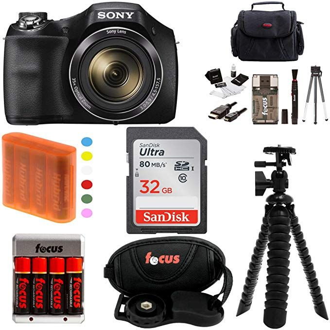 Case Tripod Kit Sony Cyber-Shot DSC-H300 Digital Camera with 32GB Card Batteries /& Charger