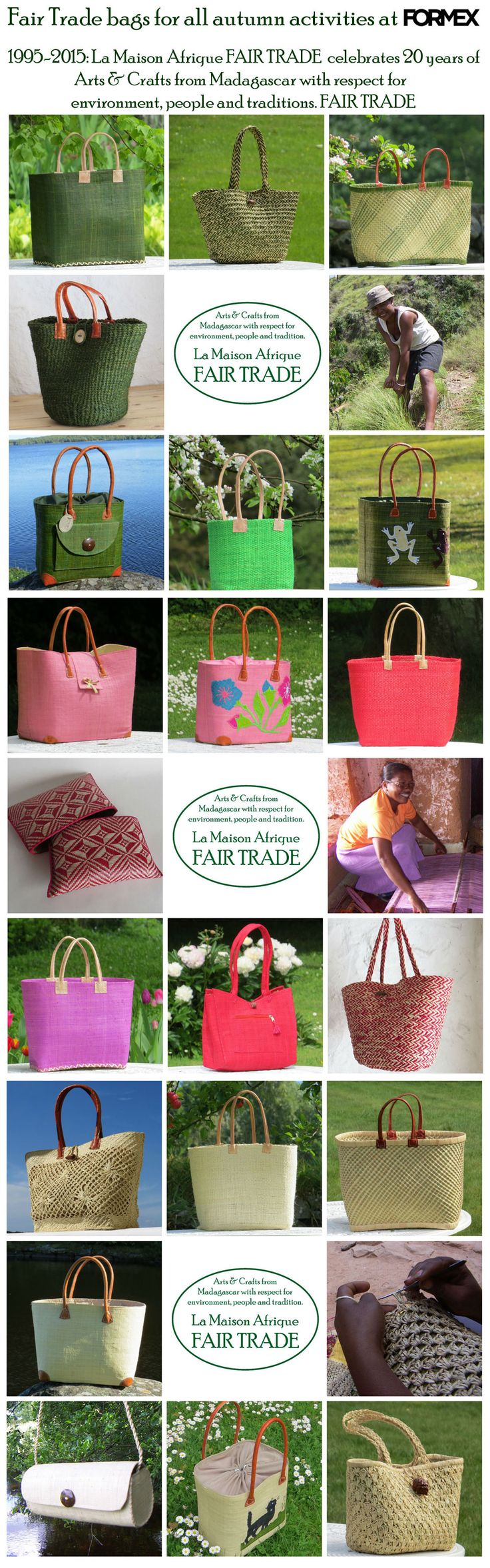 Fair Trade bags for all autumn activities. La Maison Afrique FAIR TRADE celebrates 20 years - welcome to the stand at Formex, Stockholm aug 2015.