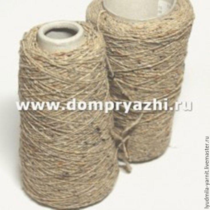 Купить TWEED, цвет песочно-древесный, с белыми, черными и оранжевыми крапкам - бежевый, пряжа, твид