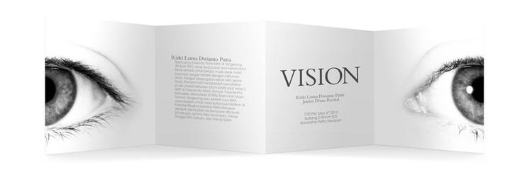 Vision Front Program Notes. Notice how when you open the booklet you will see the eye staring back.