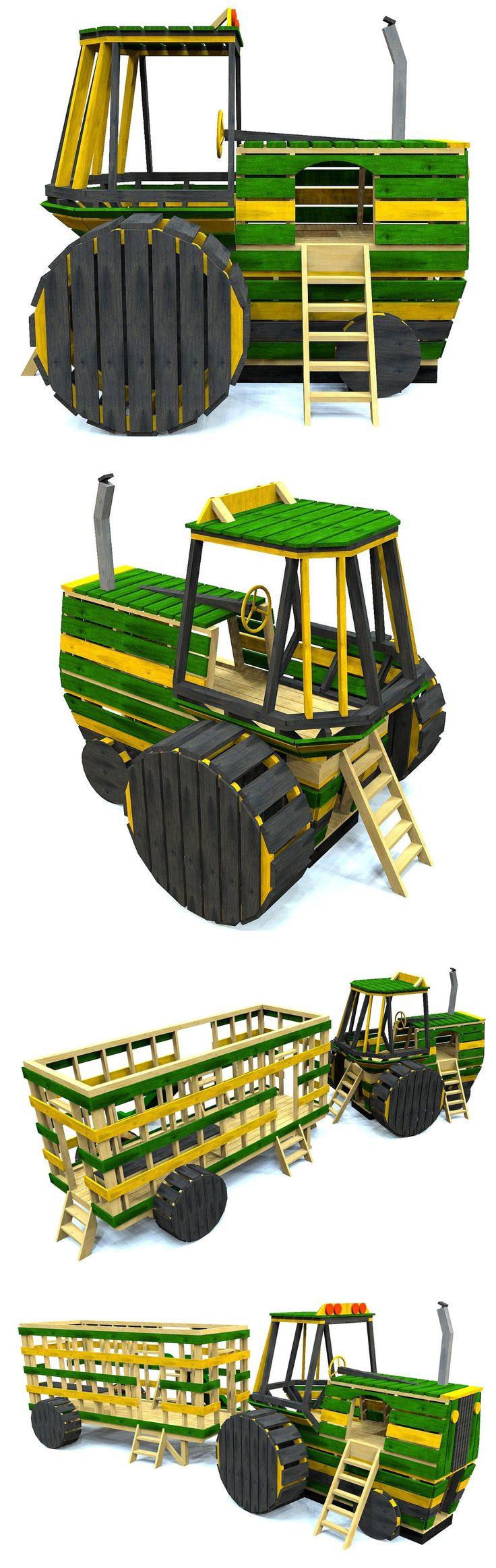 Cool farm tractor playhouse plan.  All made from lumber you can get at your local lumberyard.  Download the play today!