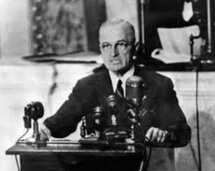 The Truman Doctrine was issued by President Harry S. Truman in 1947.  It is stated in this doctrine,  that the United States would make it their goal in going to any lengths to contain and prevent the spread of communism in efforts to stop the Soviet Union, a former ally of the United States.