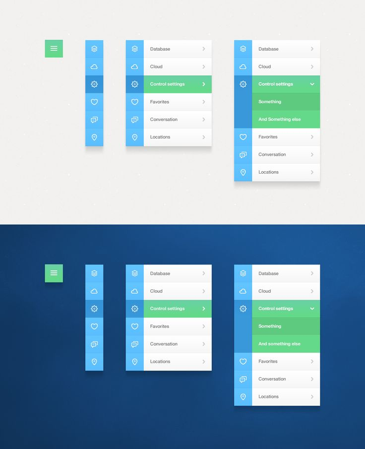 Various manifestations of navigation particularly in a responsive layout, expanding/accordion menu, simple iconography