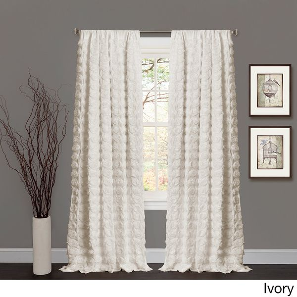 Lush Decor Emma Rosette 84 Inch Curtain Panel Ivory