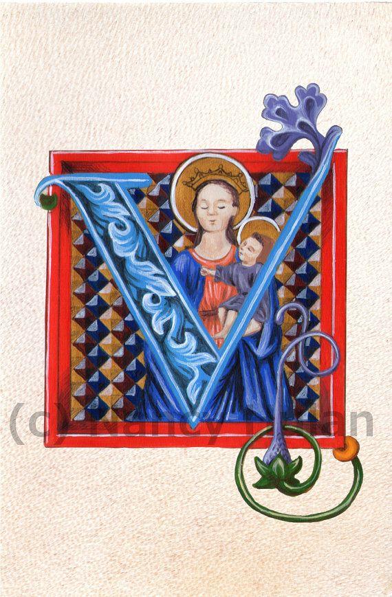 Middeleeuwse verlichte Letter V, alfabet Letter V, middeleeuwse beschilderde Letter V, eerste geschilderd, Renaissance brief Fine Art Print