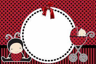 convite chá de bebê joaninha imprimir grátis  free printable baby shower invite