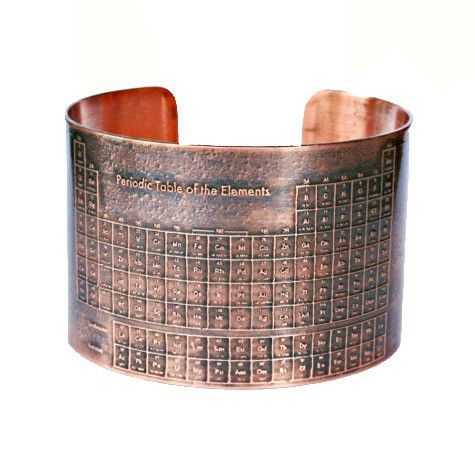 Periodic Table of Elements Etched Copper Cuff