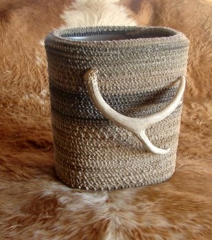 Ranch rope waste basket with antler accent
