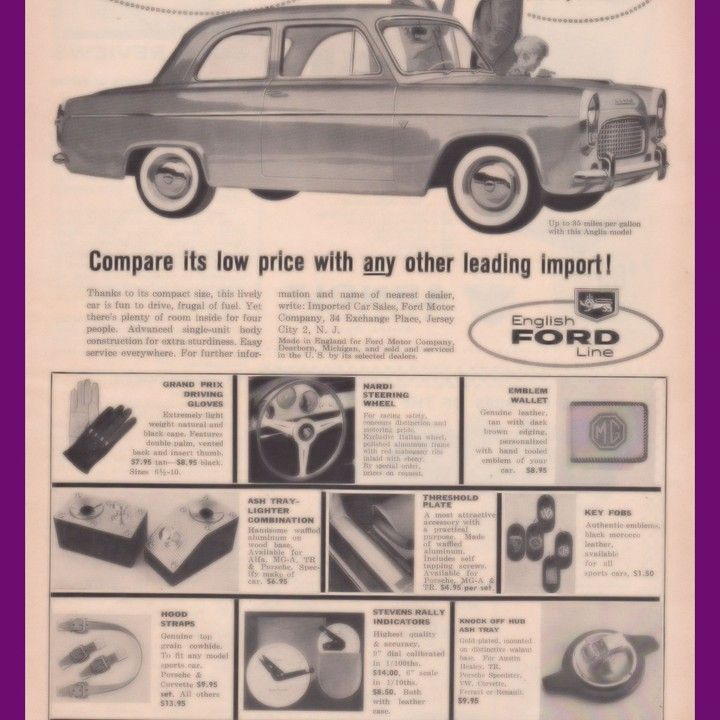 1958 Ford English Anglia Easier To Park Vintage AD from West Coast Vintage for $10.00 on Square Market
