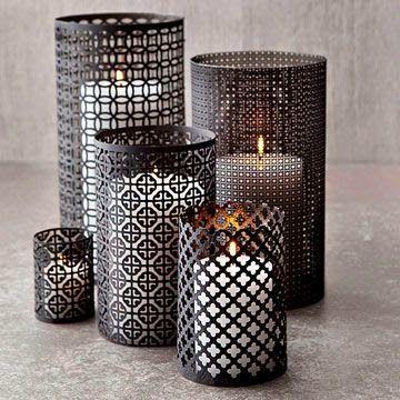 the queen of halloween: aluminum mesh candleholders