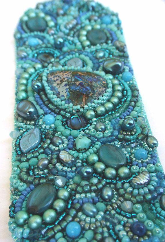 20% OFF Bead Embroidery Bracelet Cuff Swarovski by RedTulipDesign