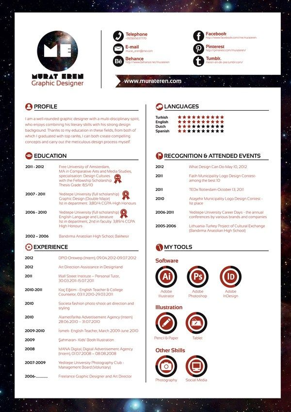 7 best CV images on Pinterest Creative curriculum, Resume and - creative web designer resume