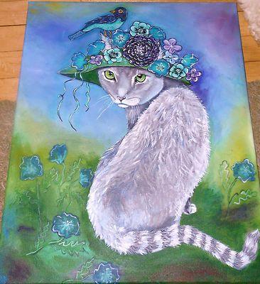 ORIGINAL ACRYLIC PAINTING ON CANVAS #ART LADY GREY #CAT KITTY PURPLE BIRD HAT