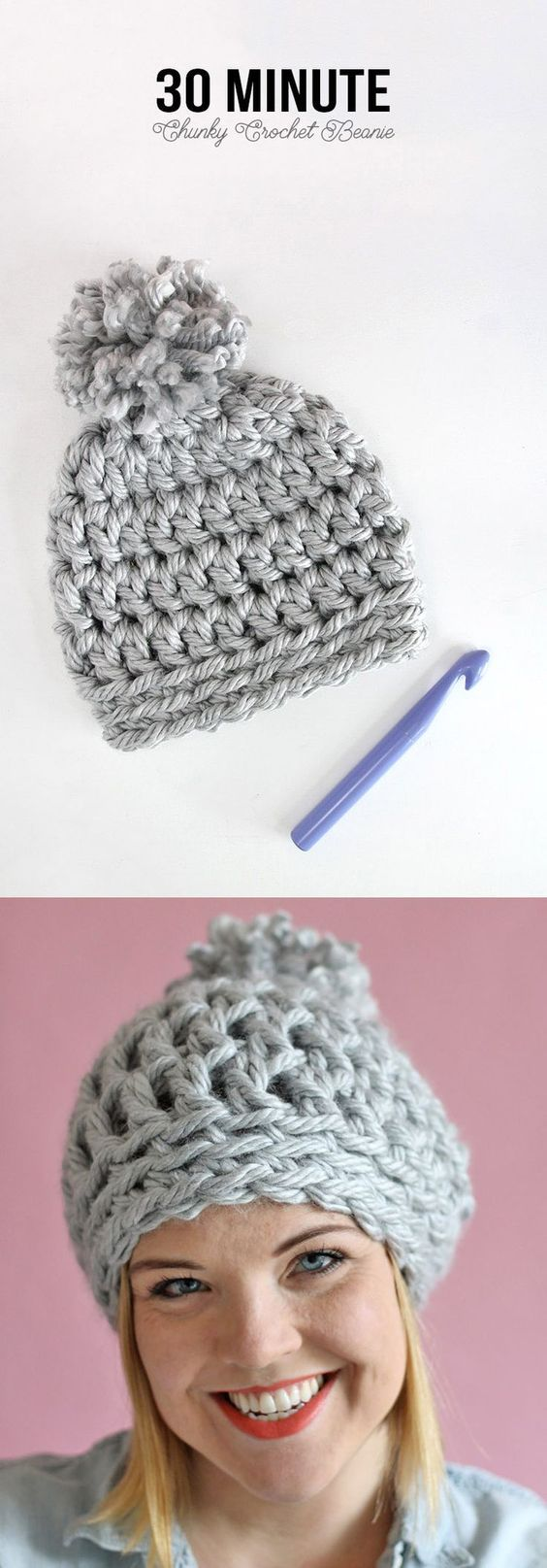 Easy Chunky Crochet Beanie - Take half an hour out of your day to stitch this up