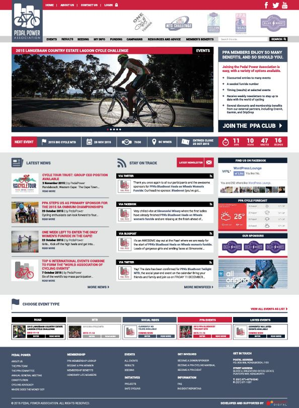 Pedal Power Association website with membership area gathering and presenting live membership data from SQL databases through web services and stored procedures