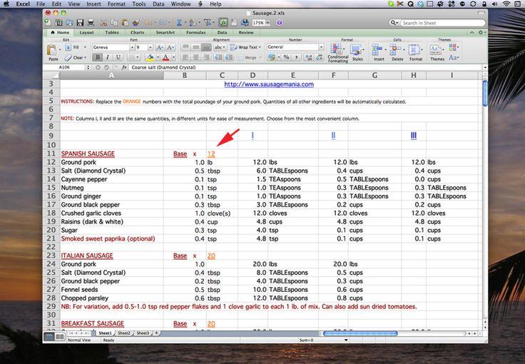 The SausageMania Excel Spreadsheet