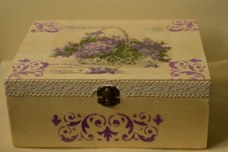 Large wooden box, Decoupage, Floral box by KasiasGiftShop on Etsy