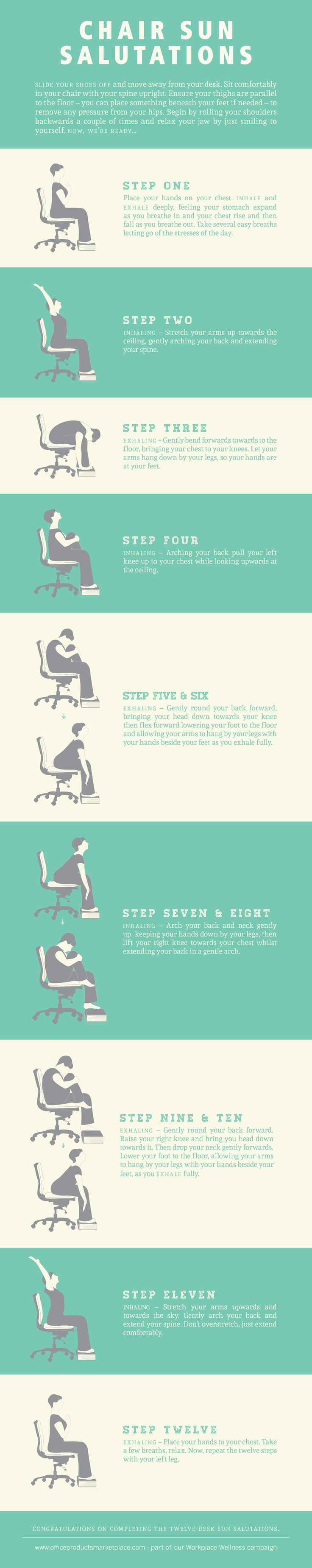 Here is a great info-graphic that explains the many yoga poses you can accomplish at your desk (or anywhere for that matter). Leave a comment as to where you love to practice yoga!  #yoga #office #healthy