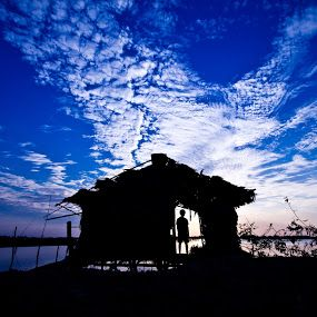 Awesome with my old house! by Mardy Suong - People Street & Candids ( silhouette, mardy suong, mardy photography, khmer, cambodia )