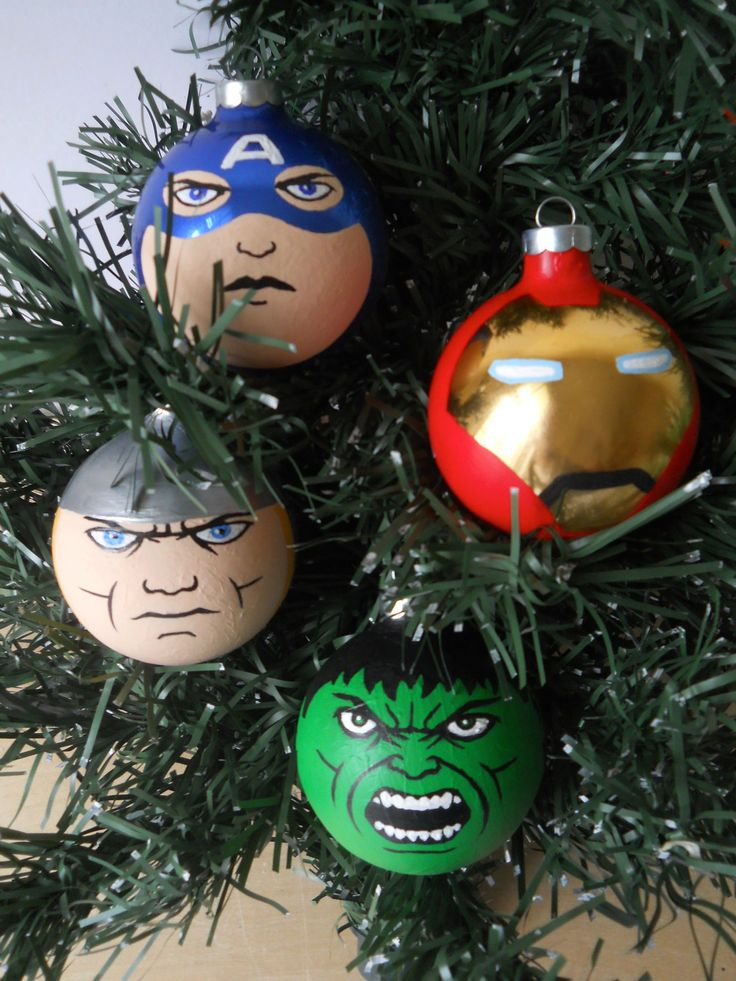 Great Holiday gift for your geek guys - Avengers Iron Man, Captain America, Hulk, and Thor Painted Ornaments Marvel Superheroes. $50.00, via Etsy.