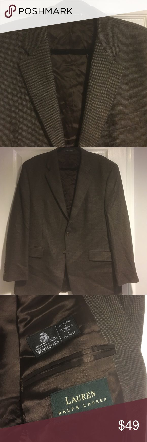 *Suit SALE* Lauren by RL 100 lambs wool 44R Very sharp & well made in Canada. Dark brown. Save huge off retail. Lauren Ralph Lauren Suits & Blazers Sport Coats & Blazers