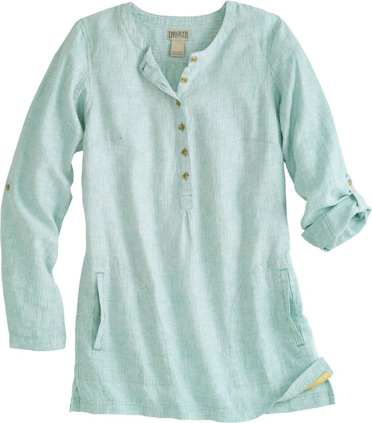 Women's Artisan Hemp Tunic, light teal stripe; Duluth Trading Company