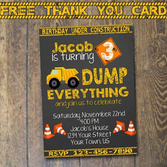 Construction Birthday Invitation Dump Truck Invitation Birthday Party Chalkboard Invite Custom Digital File