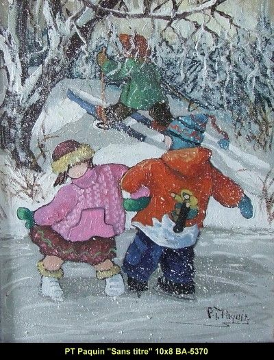 Original oil painting on canevas by Paulin Paquin #paulinepaquin #art #artist #canadianartist #quebecartist #children #wintersports #originalpainting #oil #balcondart #multiartltee