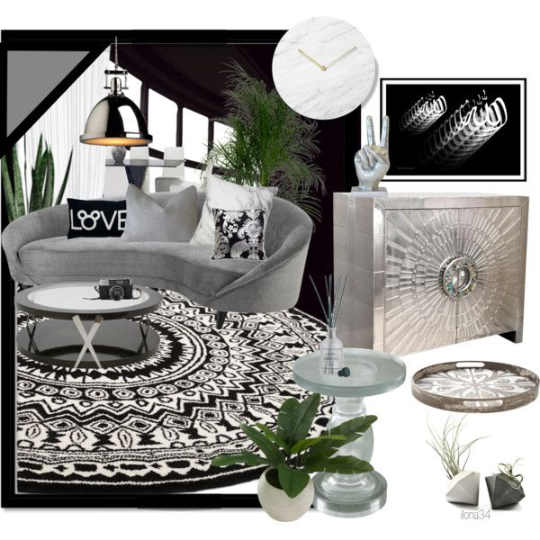 Black and White Lounge by ilona2010 on Polyvore featuring interior, interiors, interior design, maison, home decor, interior decorating, Jonathan Adler, Eichholtz, Artcraft Lighting and Threshold