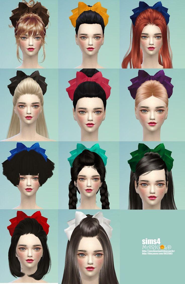 The sims 4 hair accessories - Sims4 Marigold Big Ribbon Hair Band_ _