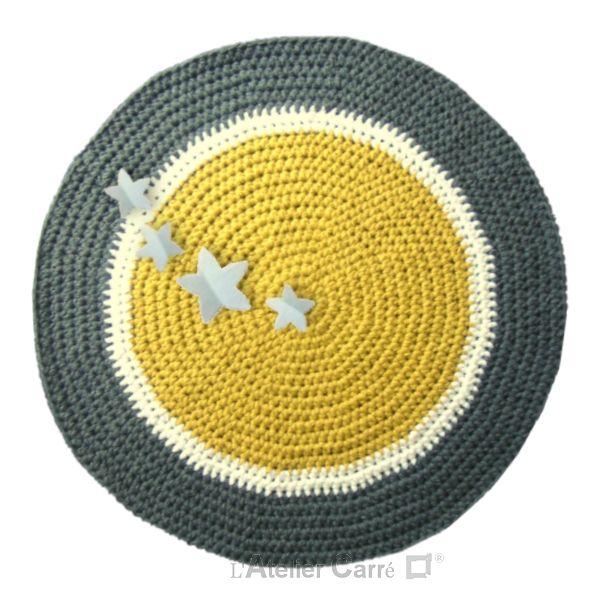 tapis rond au crochet sujets en relief - Tapis Rond Color